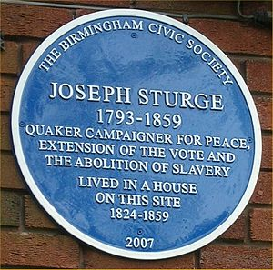 Joseph Sturge - Blue plaque on Wheeleys Road