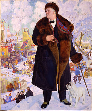 Lining (sewing) - Russian opera singer Feodor Chaliapin in a fur-lined coat.  Portrait by Boris Kustodiyev (Portrait of Chaliapin (Kustodiev painting)), 1921.