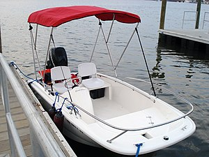 Bimini top - A boat with a Bimini top