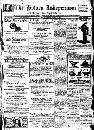 Bowen Independent - Front page of the Bowen Independent, January 10, 1911