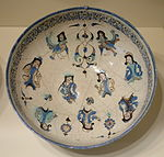 Bowl with harpies and seated figures, Mina'i ware,Central Iran, Seljuk period, late 12th or early 13th century AD, earthenware with polychrome enamels over a white glaze and colors - Cincinnati Art Museum - DSC04002.JPG
