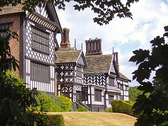 Metropolitan Borough of Stockport - The east side of Bramall Hall, a Grade I listed building and Tudor mansion.