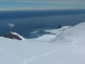 Edward Bransfield - Bransfield Strait from Tangra Mountains, Livingston Island; Antarctic Peninsula in the background