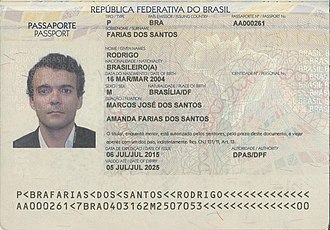 "Brazilian passport - Sample identification page of the new (""blue"") Brazilian passport. All data, including the holder's picture, are laser-printed. The protective plastic sheet covering this page is holographic and there are over 20 other advanced security features."