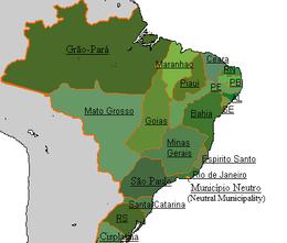 Um mapa mostrando o Império e suas províncias