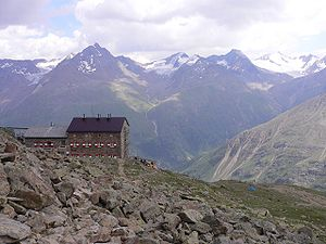 Mountain hut - Breslauer Hütte (2,844 m) in the Ötztal Alps, Austria
