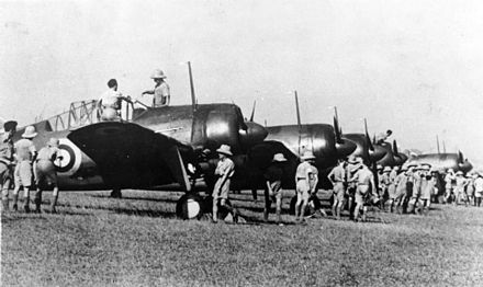 Brewster Buffalo fighters based at Sembawang Airfield BrewsterBuffalosMkIRAAFSingaporeOctober1941.jpg