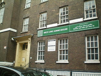 Brick Lane - The Brick Lane Mosque, used first as a church and then a synagogue, reflecting changing demographics.