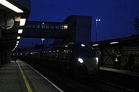 Bristol Parkway - GWR 800021+800020 westbound after dark.JPG