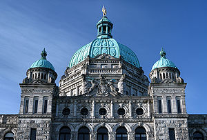 British Columbia Parliament Buildings - The main block of the Parliament Buildings combines Baroque details with Romanesque Revival rustication