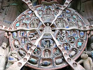 Reincarnation - In this 8-meter (25-foot) tall Buddhist relief, made sometime between the years 1177 and 1249, Mara, Lord of Death and Desire, clutches a Wheel of Reincarnation which outlines the Buddhist cycle of reincarnation.