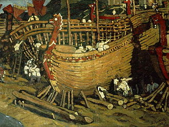 Varangians - Nicholas Roerich: Longships Are Built in the Land of the Slavs  (1903)