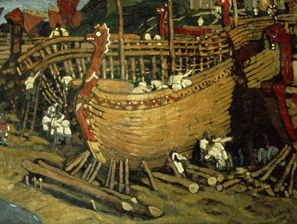 Building ships by Roerich