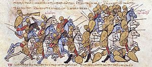 Byzantine–Bulgarian war of 894–896 - The Bulgarians defeat the Byzantines under Krenites and Kourtikios in Thrace, Madrid Skylitzes.