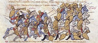 Battle of Boulgarophygon - The Bulgarians defeat the Byzantines under Krenites and Kourtikios in Thrace, miniature from the Madrid Skylitzes