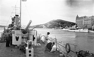1st Split Partisan Detachment - An Italian ship in the Port of Split following the city's occupation.
