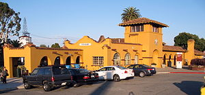National Register of Historic Places listings in San Mateo County, California - Image: Burlingame Railroad Station, Burlingame Ave. and California Dr., Burlingame, CA 7 31 2011 7 27 36 PM