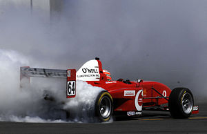 Formula Car Challenge - FCC Champion celebrates with a massive burnout