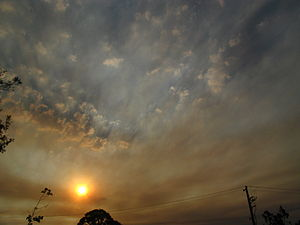 2008–09 Australian bushfire season - Smoke from the southern Dandenongs and Daylesford fires over Melbourne on 23 February