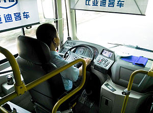 BYD K9 - BYD electric bus driving cockpit in Shenzhen.