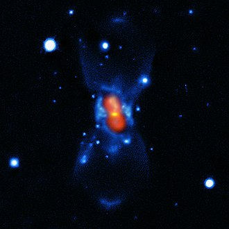 CK Vulpeculae - Visible light is in blue, submillimeter radiation map highlighted in green, and molecular emission in red.