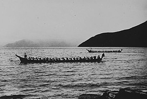 Lake Toba - Batak canoes near Haranggaol on Lake Toba (circa 1920)