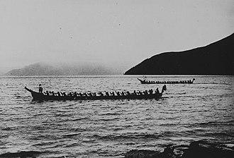 Lake Toba - Batak canoes near Haranggaol on Lake Toba (circa 1920)