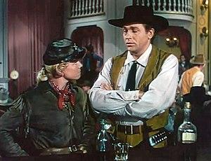 Calamity Jane (film) - Calamity Jane (Doris Day) and Wild Bill Hickok (Howard Keel) at the Golden Garter