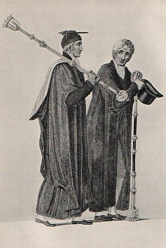 Bedel - 1815 engraving (from Rudolf Ackermann's History of the University of Cambridge) of an Esquire Bedell (left) and a Yeoman Bedell (right)