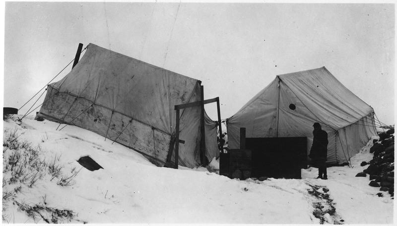 File:Camp tents in the winter - NARA - 285823.tif