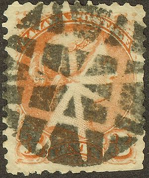 Cancellation (mail) - Fancy cancel on 1872 Canada stamp