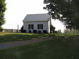 Capon Chapel - North and east sides viewed from the gravel driveway to the northwest