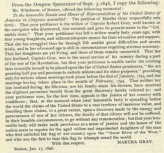 Robert Gray (sea captain) - Martha Gray's petition to Congress