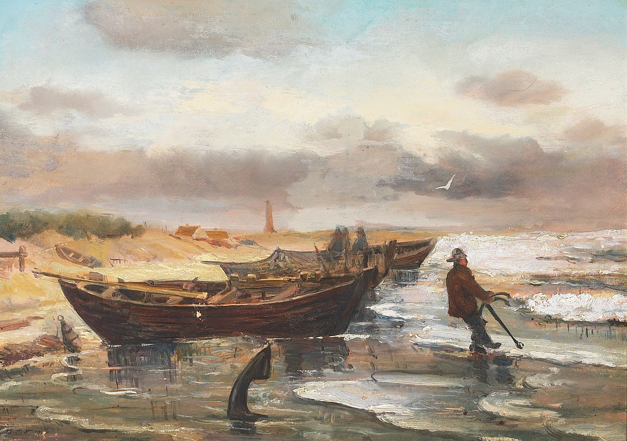 Fishermen and Boats at the Beach of Skagen
