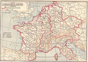 The threefold division of the Frankish empire by the Treaty of Verdun in 843, showing Middle Francia in the centre.