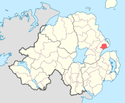 Location of Carrickfergus, County Antrim, Northern Ireland.