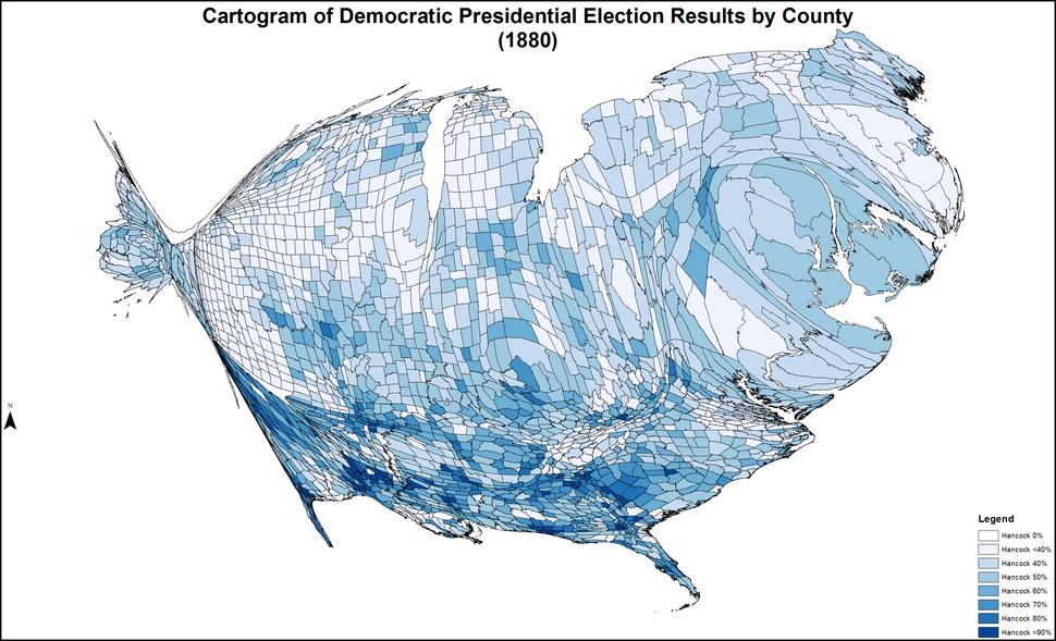 CartogramDemocraticPresidentialCounty1880Colorbrewer