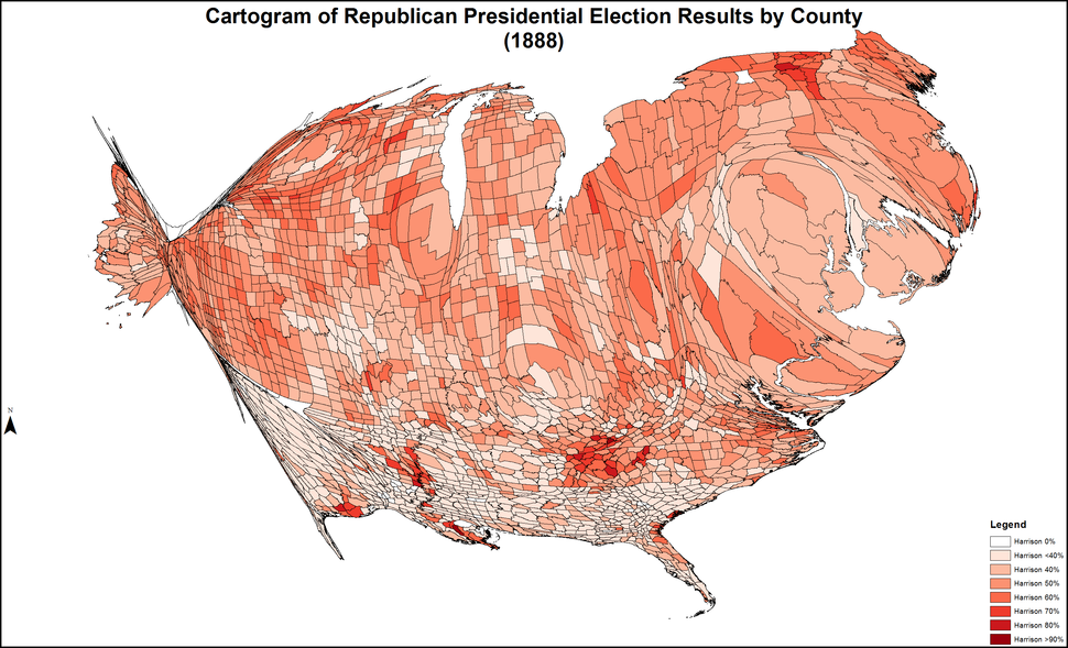 CartogramRepublicanPresidentialCounty1888Colorbrewer