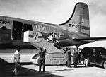 Catering of SAS's DC-4, Dan Viking, before take off at Bromma International Airport, Stockholm, Sweden, for New York..jpg