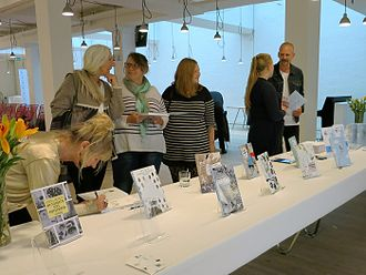 Louis Jensen - Celebration at Gyldendal Publishing house in Copenhagen, in honor of the publication of Louis Jensen's eleventh and final volume in his Square Stories series