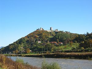 The Celje Upper Castle, viewed from the banks ...