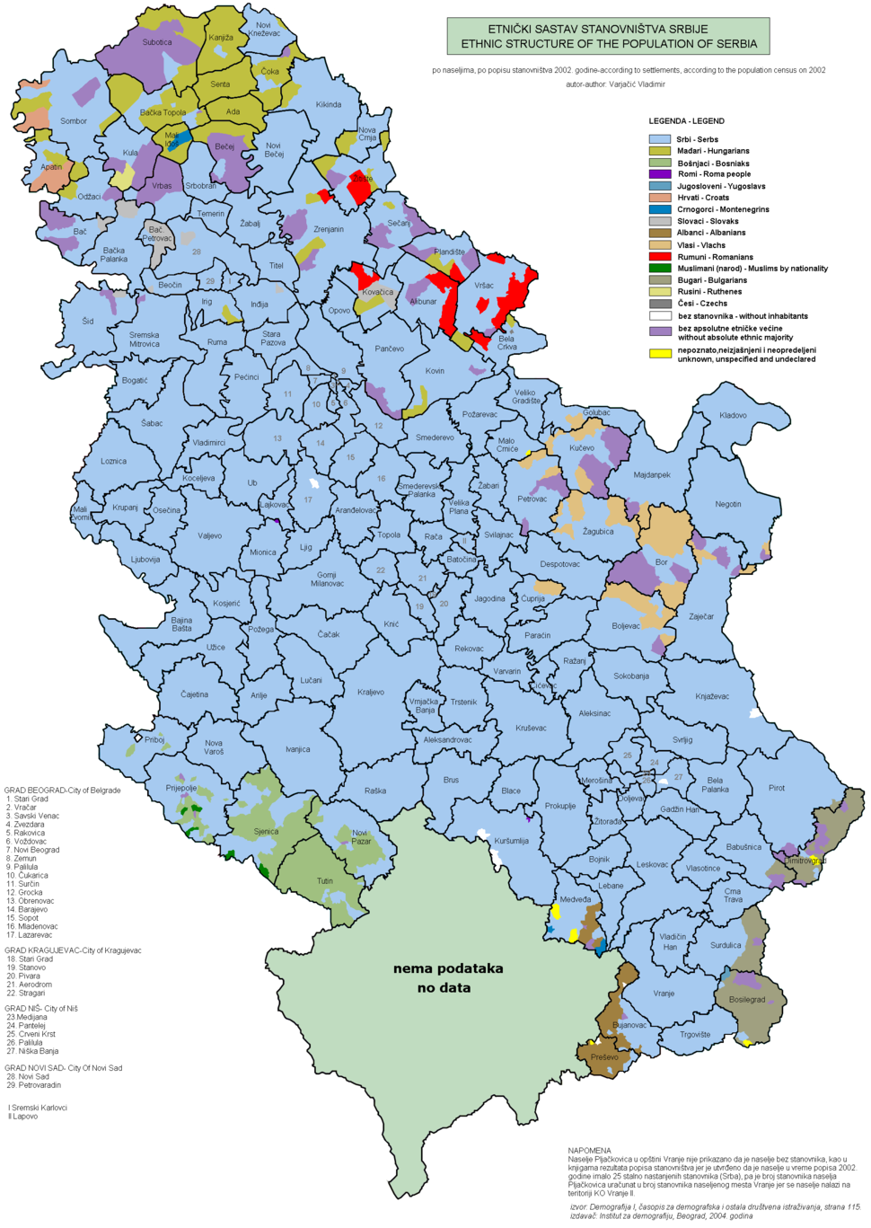 Census 2002 Serbia, ethnic map (by municipalities)