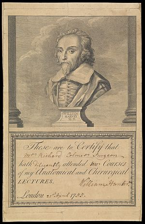 Certificate of attendance - Certificate of attendance (in this case for Richard Colmer, surgeon) at anatomy and surgery courses run by William Hunter. The certificate is signed by him and dated 27th April 1755 by hand. The upper part of the certificate is an engraving of a bust of William Harvey.