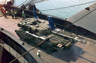 Implementation Force - Challenger 1 tank of the British Army's 1st The Queen's Dragoon Guards with IFOR markings on a loading ship