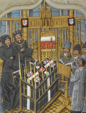 Ferdinand I of Portugal - The Funeral of D. Fernando from the Chronique d' Angleterre; Jean de Wavrin, late 14th century.
