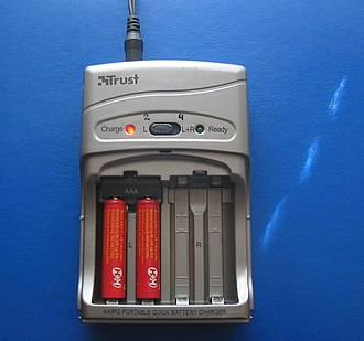 Rechargeable battery - A common consumer battery charger for rechargeable AA and AAA batteries