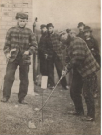 Charlie Hunter (golfer) - Hunter (left) watches as Old Tom Morris plays a shot in 1863 at Prestwick. Both of the players are wearing the traditional tweeds.