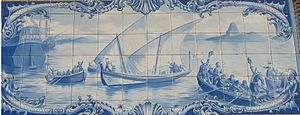 Olhão - An azulejo depicting the famous trip to Brazil of representatives of the revolt against the French occupation