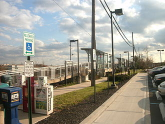 Cherry Hill, New Jersey - A PATCO Speedline train pulls into the Woodcrest station in Cherry Hill, heading westbound to Philadelphia, top; the Cherry Hill NJT station, along the NJ Transit route connecting Philadelphia and Atlantic City, below.