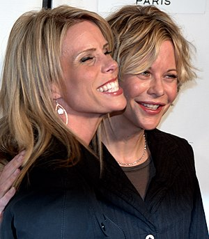 Cheryl Hines - Hines and Meg Ryan at the premiere of Serious Moonlight, Hines' directorial debut